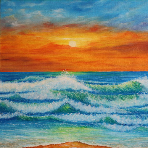 emerald green sea waves at sunset, 20 x 16 inch, goutami mishra,photorealism paintings,paintings for living room,canvas,oil,20x16inch,GAL04656459