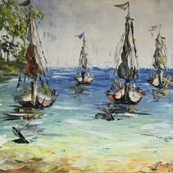 tales from the sea, 36 x 24 inch, anirudh bhagtani,contemporary paintings,paintings for living room,paintings,canvas,oil,36x24inch,GAL024676460
