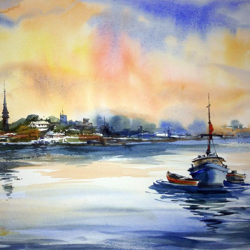 river01, 23 x 15 inch, prasanta maiti,realistic paintings,paintings for dining room,canson paper,watercolor,23x15inch,GAL024456462