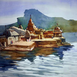 varanasi01, 20 x 14 inch, prasanta maiti,nature paintings,paintings for office,canson paper,watercolor,20x14inch,GAL024456464Nature,environment,Beauty,scenery,greenery,varanasi,water,river,lake,temple