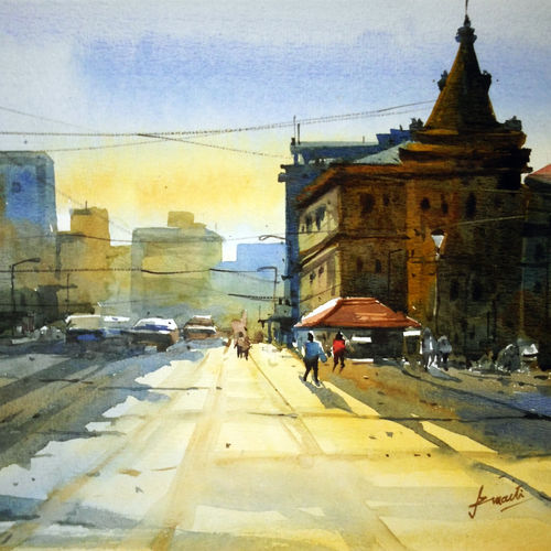 cityscape, 17 x 12 inch, prasanta maiti,cityscape paintings,paintings for living room,canson paper,watercolor,17x12inch,GAL024456466