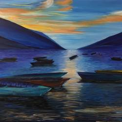 boats at the lake, 40 x 24 inch, malavika  shinde,landscape paintings,paintings for living room,canvas,acrylic color,40x24inch,GAL024716474