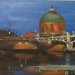la grave bridge toulouse, 30 x 12 inch, malavika  shinde,landscape paintings,paintings for living room,canvas,acrylic color,30x12inch,GAL024716476