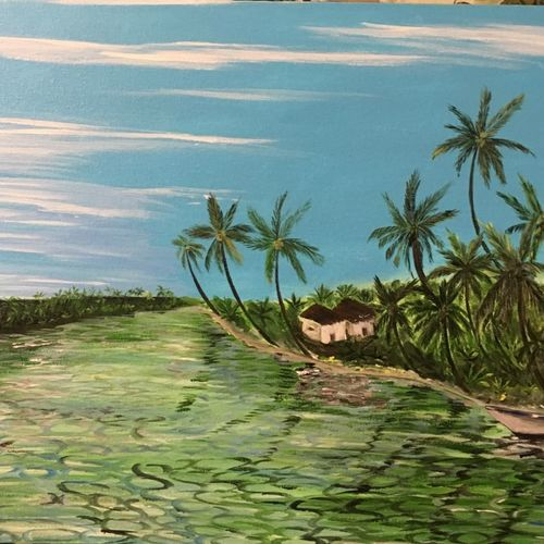 kerala backwaters, 30 x 18 inch, malavika  shinde,landscape paintings,paintings for living room,canvas,acrylic color,30x18inch,GAL024716477