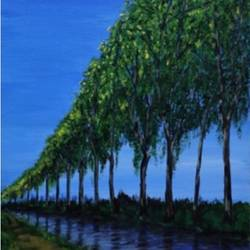 canal du midi toulouse, 12 x 30 inch, malavika  shinde,landscape paintings,paintings for living room,canvas,acrylic color,12x30inch,GAL024716478