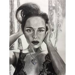 emilia clarke, 12 x 17 inch, lovepreet gill,portrait drawings,thick paper,charcoal,12x17inch,GAL023336488