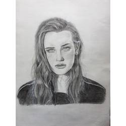 katherine langford, 12 x 17 inch, lovepreet gill,portrait drawings,paintings for dining room,thick paper,graphite pencil,12x17inch,GAL023336489