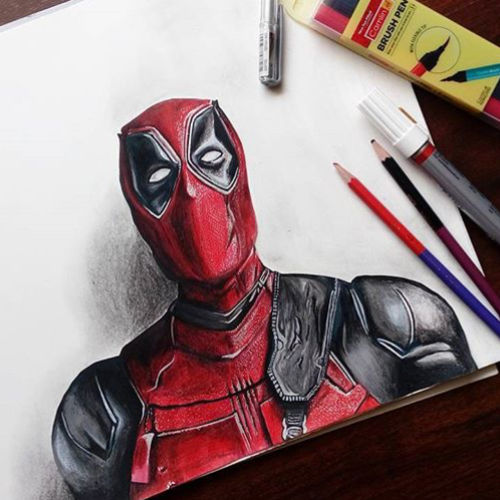 deadpool, 17 x 12 inch, lovepreet gill,realism drawings,paintings for bedroom,thick paper,pencil color,17x12inch,GAL023336490