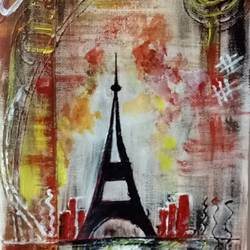 eiffel tower, 8 x 11 inch, ankita chaudhary,paintings for living room,cityscape paintings,canvas,acrylic color,8x11inch,GAL024536498