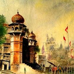 varanasi ghat- chet singh ghat, 11 x 14 inch, girish chandra vidyaratna,landscape paintings,paintings for bedroom,renaissance watercolor paper,watercolor,11x14inch,GAL03665