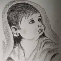 the baby (sketch) , 16 x 10 inch, vp singh,portrait drawings,paintings for living room,cartridge paper,graphite pencil,16x10inch,GAL024886500