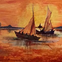 landscape sunset, 16 x 12 inch, ankita chaudhary,landscape paintings,paintings for living room,canvas board,acrylic color,16x12inch,GAL024536506