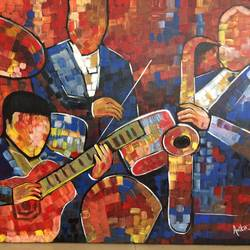 music band, 24 x 30 inch, amita dand,figurative paintings,canvas board,acrylic color,24x30inch,GAL014676507