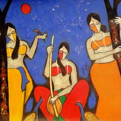 musical mind, 23 x 24 inch, chetan katigar,figurative paintings,paintings for bedroom,paintings,canvas,oil,23x24inch,GAL0266651