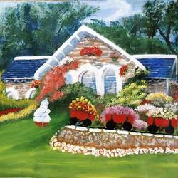 ms  - home with beautiful garden, 26 x 18 inch, madhulika sharma,landscape paintings,paintings for living room,canvas,acrylic color,26x18inch,GAL024806512