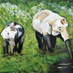 ms  - mother & baby elephant, 19 x 15 inch, madhulika sharma,wildlife paintings,paintings for living room,elephant paintings,canvas,acrylic color,19x15inch,GAL024806513