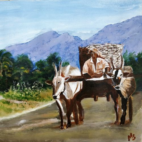 ms  - farmer's journey, 19 x 15 inch, madhulika sharma,landscape paintings,paintings for living room,canvas,acrylic color,19x15inch,GAL024806514
