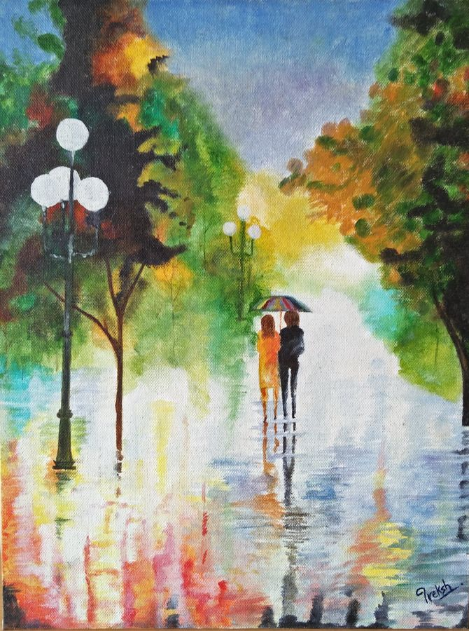 rainy day, 12 x 16 inch, preksha jain,landscape paintings,paintings for bedroom,canvas,oil,12x16inch,GAL021386515