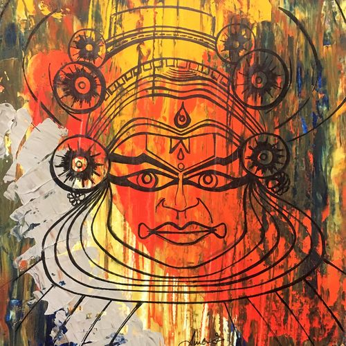 onam, 8 x 12 inch, sumona kundu,abstract paintings,paintings for living room,thick paper,mixed media,8x12inch,GAL021906517