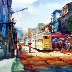 amar kolkata, 42 x 30 inch, prasanta maiti,cityscape paintings,paintings for dining room,canson paper,watercolor,42x30inch,GAL024456519