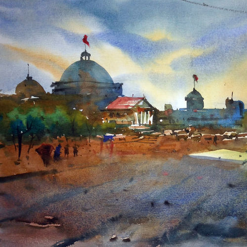cityscape05, 17 x 12 inch, prasanta maiti,cityscape paintings,paintings for living room,canson paper,watercolor,17x12inch,GAL024456520