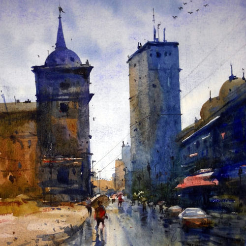 cityscape06, 12 x 17 inch, prasanta maiti,cityscape paintings,paintings for office,canson paper,watercolor,12x17inch,GAL024456521
