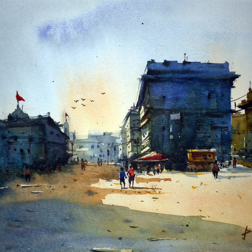 cityscape07, 17 x 12 inch, prasanta maiti,cityscape paintings,paintings for bedroom,canson paper,stone color,17x12inch,GAL024456522