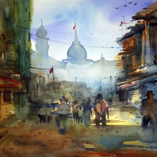 mumbai gali, 22 x 15 inch, prasanta maiti,cityscape paintings,paintings for living room,canson paper,watercolor,22x15inch,GAL024456523