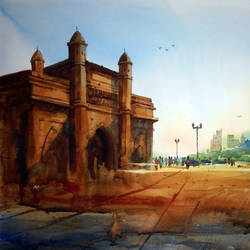 gateway of india, 22 x 15 inch, prasanta maiti,cityscape paintings,paintings for living room,canson paper,watercolor,22x15inch,GAL024456525