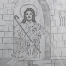 jesus christ with lamb, 8 x 11 inch, ragavendra maharajan,fine art drawings,paintings for living room,paper,pencil color,8x11inch,GAL025026532
