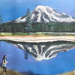 mount rainier , 30 x 24 inch, subhash gijare,landscape paintings,paintings for living room,paper,acrylic color,30x24inch,GAL01386539