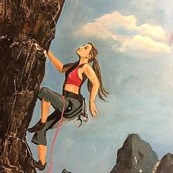 mountain climbing , 11 x 9 inch, subhash gijare,figurative paintings,paintings for office,ply board,acrylic color,11x9inch,GAL01386540