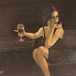 wine and woman , 11 x 9 inch, subhash gijare,figurative paintings,paintings for bedroom,hardboard,acrylic color,11x9inch,GAL01386541