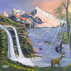 waterfall and mountain, 20 x 16 inch, subhash gijare,landscape paintings,paintings for living room,canvas,acrylic color,20x16inch,GAL01386542