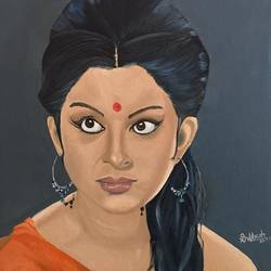 sharmila tagore, 16 x 12 inch, subhash gijare,portrait paintings,paintings for living room,canvas,oil,16x12inch,GAL01386544