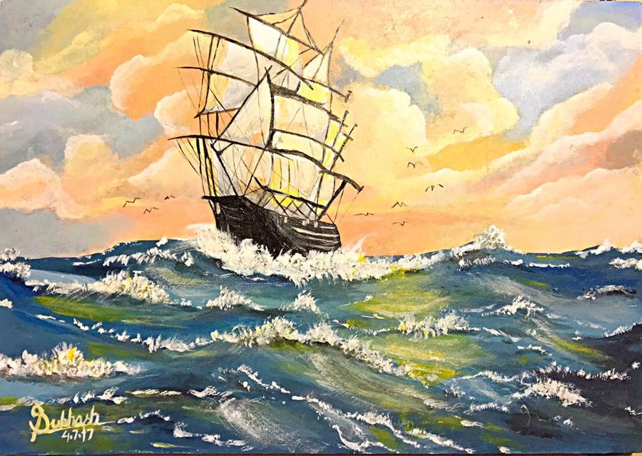 ship in the wildsea, 11 x 9 inch, subhash gijare,landscape paintings,paintings for living room,hardboard,acrylic color,11x9inch,GAL01386547
