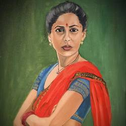 smita patil portrait, 24 x 20 inch, subhash gijare,portrait paintings,paintings for living room,canvas,oil,24x20inch,GAL01386548