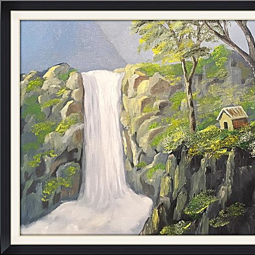 waterfall, 20 x 16 inch, subhash gijare,nature paintings,paintings for living room,canvas,oil,20x16inch,GAL01386552Nature,environment,Beauty,scenery,greenery