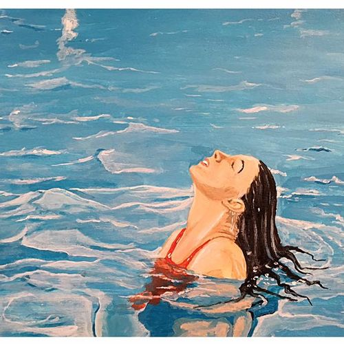 woman in swimming pool, 11 x 9 inch, subhash gijare,figurative paintings,paintings for living room,hardboard,acrylic color,11x9inch,GAL01386553