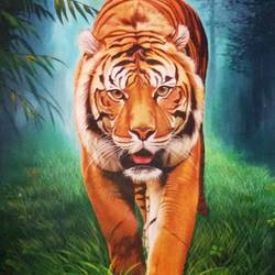 tiger, 31 x 44 inch, jacob philip,animal paintings,paintings for living room,canvas,acrylic color,31x44inch,GAL022446557