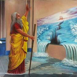moses, 60 x 50 inch, jacob philip,religious paintings,paintings for living room,canvas,acrylic color,60x50inch,GAL022446563
