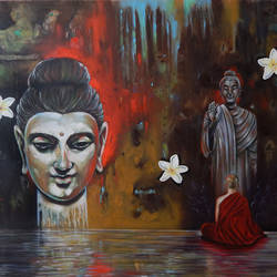buddha and monk 002, 34 x 28 inch, sandeep rawal ,buddha paintings,paintings for living room,canvas,oil,34x28inch,religious,peace,meditation,meditating,gautam,goutam,buddha,lord,monk,giving blessing,flowers,GAL025116565