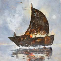 the journey of ship of dreams, 37 x 37 inch, sandeep rawal ,nature paintings,paintings for office,vertical,canvas,acrylic color,37x37inch,GAL025116566Nature,environment,Beauty,scenery,greenery