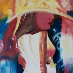 the lady, 18 x 24 inch, jyoti  singla,figurative paintings,paintings for living room,canvas,oil,18x24inch,GAL025146570