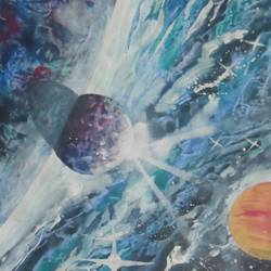 planets, 8 x 11 inch, sunil begana,nature paintings,paintings for living room,paper,watercolor,8x11inch,GAL06546571Nature,environment,Beauty,scenery,greenery,planets,mars,solar,system