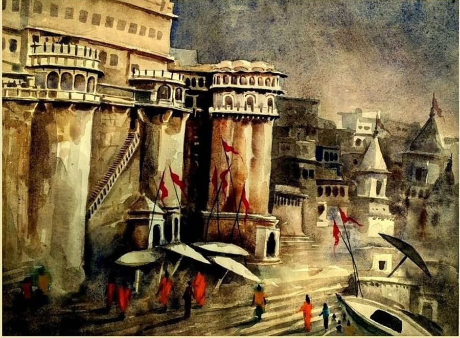 varanasi ghat- ganga mahal ghat, 11 x 14 inch, girish chandra vidyaratna,landscape paintings,paintings for bedroom,renaissance watercolor paper,watercolor,11x14inch,GAL03666