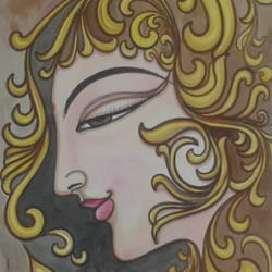 golden girl, 8 x 12 inch, sujitha artgallery,figurative drawings,paintings for living room,thick paper,watercolor,8x12inch,GAL04966617