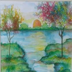 sunrise, 8 x 12 inch, sujitha artgallery,landscape paintings,paintings for dining room,paintings,ivory sheet,watercolor,8x12inch,GAL04966624