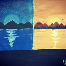 night & day, 33 x 23 inch, soumya purohit,landscape paintings,paintings for living room,thick paper,mixed media,33x23inch,GAL021156633