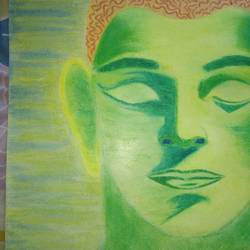 lord buddha - messenger of peace, 11 x 13 inch, dhruv dixit,buddha paintings,paintings for office,paper,pastel color,11x13inch,religious,peace,meditation,meditating,gautam,goutam,buddha,green,face,GAL020686636